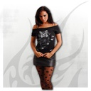 BRIGHT EYES - 2in1 White Ripped Top Black