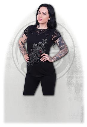 3706e889d5054 FATAL ATTRACTION - 2in1 Ripped Black Lace Top