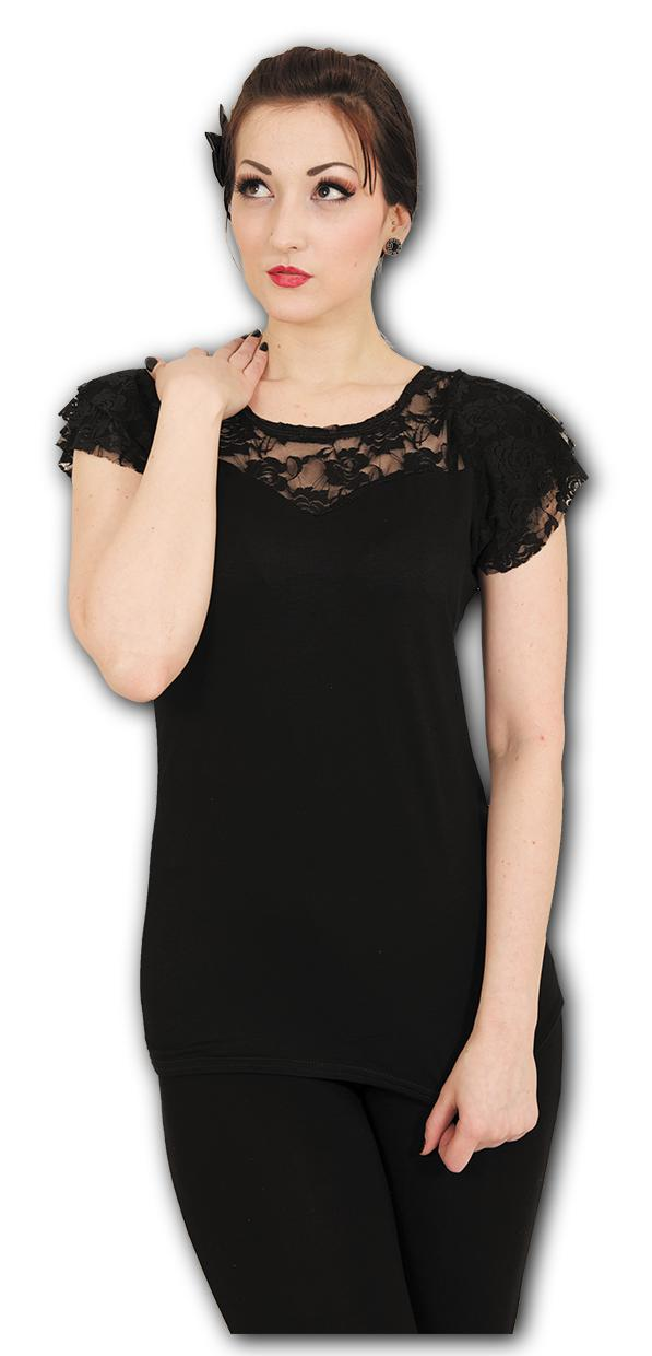 44 Black 001 Spiral Direct Enslaved Angel-Lace Layered Cap Sleeve Top Shirt Taille Fabricant: Large Noir Femme
