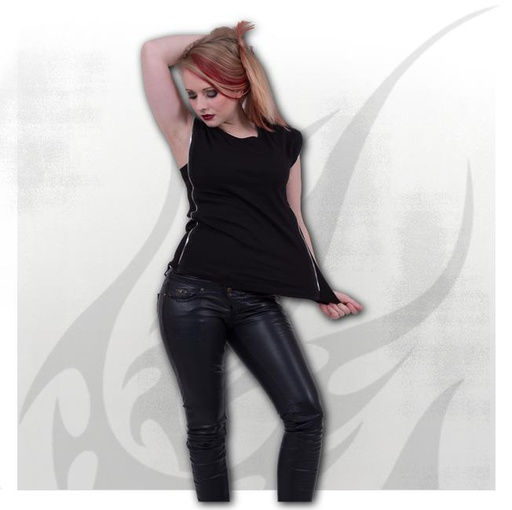 GOTHIC ROCK - Zip Side Ribbed Gothic Ladies Top