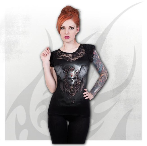 GOTH NIGHTS - Lace Layered Cap Sleeve Top Black