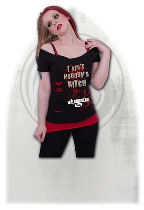 2241dc8a21 NOBODY S BITCH - Walking Dead 2in1 Red Ripped Top Plus Size