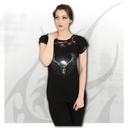 RAVEN CAGE - Lace Layered Cap Sleeve Top Black