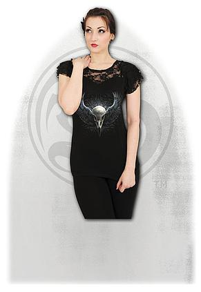 6bbf6abb RAVEN CAGE - Lace Layered Cap Sleeve Top Black