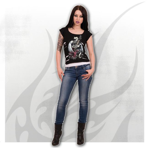 ROCK ANGEL - 2in1 White Ripped Top Black