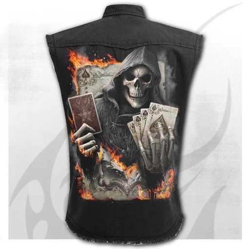ACE REAPER - Sleeveless Stone Washed Worker Black