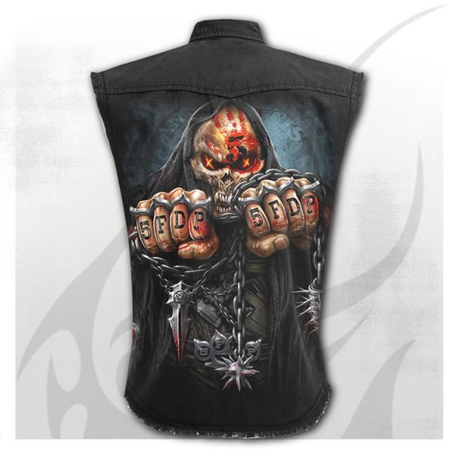 5FDP - GAME OVER - Sleeveless Stone Washed Worker Black