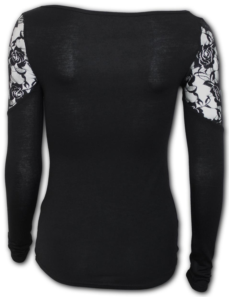 Top Clothing Goth Long Sleeve Lace Shoulder Spiral Direct LACE SKULL Womens