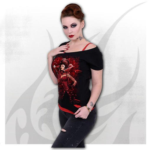 QUEEN OF HEARTS - 2in1 Red Ripped Top Black