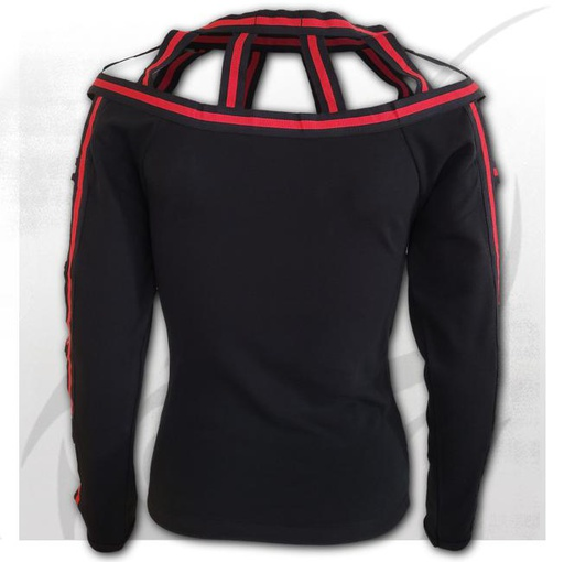 GOTHIC ROCK - Red Web Neck Top Black