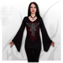 THE DEAD - V Neck Goth Sleeve Top Black