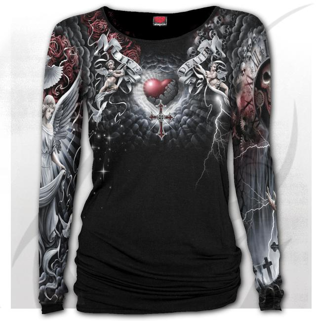 LIFE AND DEATH CROSS - Allover Baggy Top  Black