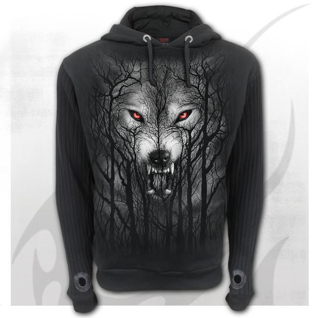 FOREST WOLF - Supa Ribbed Sleeve Hoody Black