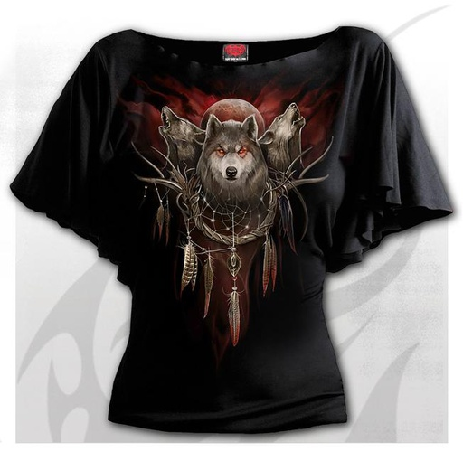 CRY OF THE WOLF - Boat Neck Bat Sleeve Top Black
