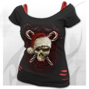 CANDY CANE SANTA - 2in1 Red Ripped Top Black