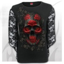 ORNATE SKULL - Rose Lace Sleeve Top