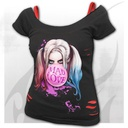 HARLEY QUINN - MAD LOVE - 2in1 Red Ripped Top Black