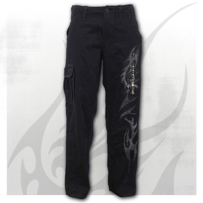 TRIBAL CHAIN - Vintage Cargo Trousers Black