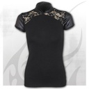 GOTHIC ELEGANCE - Leather Look Lace Top Black