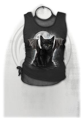 BAT CAT - 2in1 Neck Tie Mesh Top Black