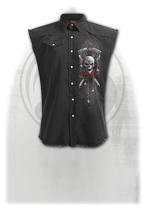 DOTD BIKERS - Sleeveless Stone Washed Worker Black