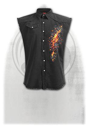 SKULL LAVA - Sleeveless Stone Washed Worker Black