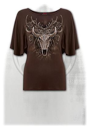 HORNED SPIRIT - Boat Neck Bat Sleeve Top Chocolate
