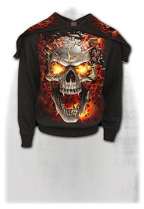 SKULL BLAST - Split Zip Hoody Black