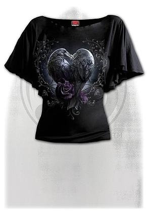 RAVEN HEART - Boat Neck Bat Sleeve Top Black