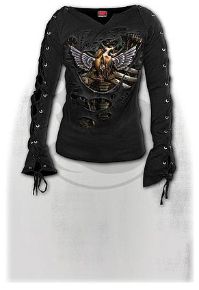 STEAM PUNK RIPPED - Laceup Sleeve Top Black