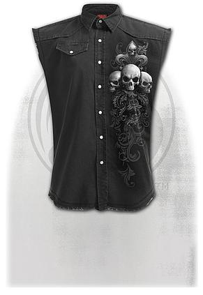 SKULL SCROLL - Sleeveless Stone Washed Worker Black