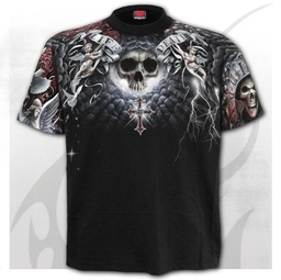 LIFE AND DEATH CROSS - Allover T-Shirt Black