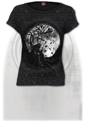 KILLING MOON - Scroll Impression Cap Sleeve Top