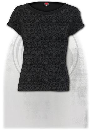 GOTHIC ELEGANCE - Scroll Impression Cap Sleeve Top
