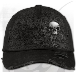 SKULL SCROLL - Baseball Cap Distressed with Metal Clasp