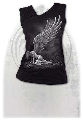 ANGEL - Gathered Shoulder Slant Vest Black
