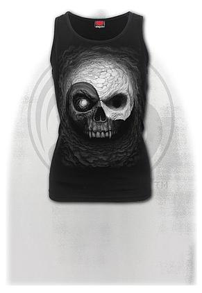 YIN YANG SKULLS - Razor Back Top Black