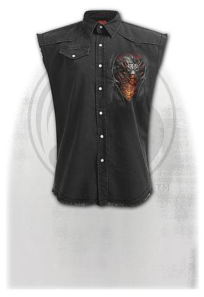 DRACONIS - Sleeveless Stone Washed Worker Black