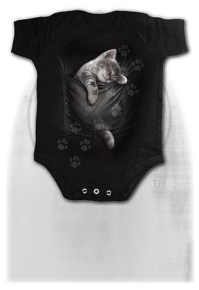 POCKET KITTEN - Baby Sleepsuit Black