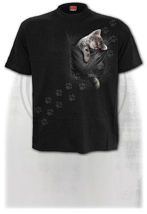 POCKET KITTEN - Front Print T-Shirt Black