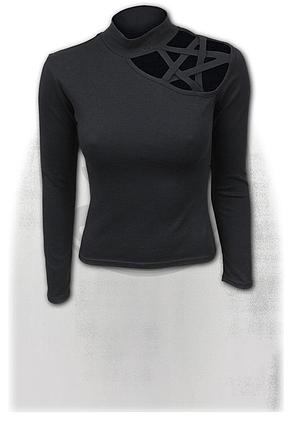 GOTHIC ELEGANCE - Pentagram Shoulder Longsleeve Top