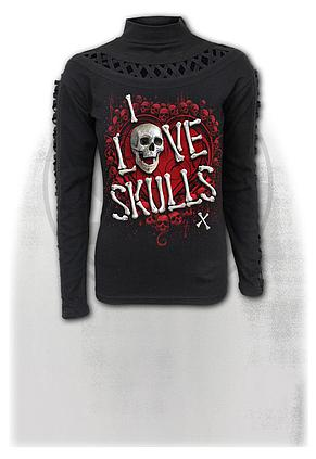 LOVE SKULLS - Waterfall Slits Longsleeve Top