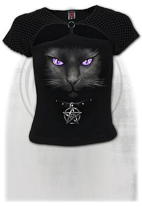 BLACK CAT - Mesh Ring Cap Sleeve Top Black