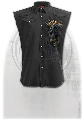 BLACK GOLD - Sleeveless Stone Washed Worker Black