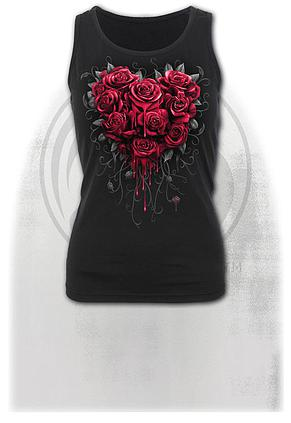 BLEEDING HEART - Razor Back Top Black