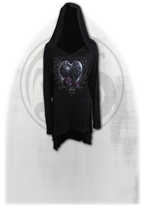 RAVEN HEART - Black Widow Gothic Hooded Dress