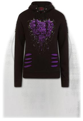 BLEEDING HEART - Large Hood Ripped Hoody Purple-Black