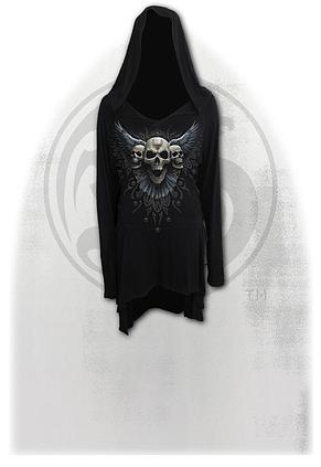 RAVEN SKULL - Black Widow Gothic Hooded Dress