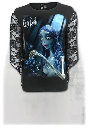 CORPSE BRIDE - GLOW IN THE DARK - Rose Lace Sleeve Top