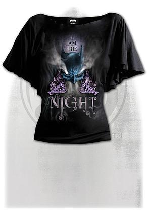 BATMAN - I AM THE NIGHT - Boat Neck Bat Sleeve Top Black